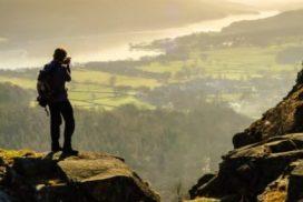 Figure looking over landscape