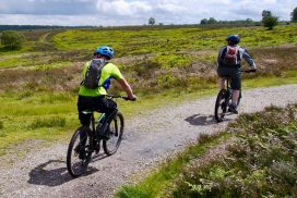 Two mountain bikers on the chase
